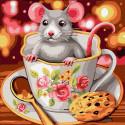 Мышка в чашке Раскраска картина по номерам на холсте KH1018