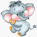 Милый слоник Раскраска картина по номерам на холсте KH1019