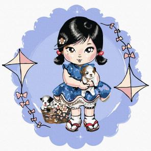 Девочка со щенками Раскраска картина по номерам на холсте KH1020