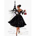 Парижская модница Раскраска картина по номерам на холсте KH1011