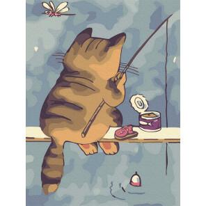 Кот-рыбак Раскраска картина по номерам на холсте KH1014