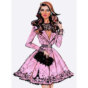 Модное платье Раскраска картина по номерам на холсте KH1015