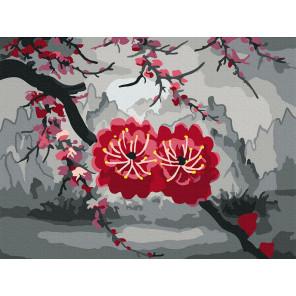 Цветы сакуры Раскраска картина по номерам на холсте KH1008