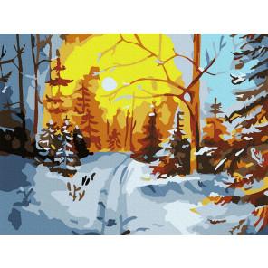 Зимний лес Раскраска картина по номерам на холсте KH0999
