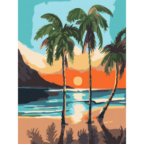 Пальмы на закате Раскраска картина по номерам на холсте KH0986