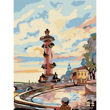 Санкт-петербург. Ростральная колонна Раскраска картина по номерам на холсте KH0987