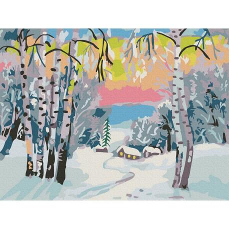 Зимний пейзаж Раскраска картина по номерам на холсте KH0989