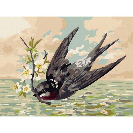 Ласточка Раскраска картина по номерам на холсте KH0990