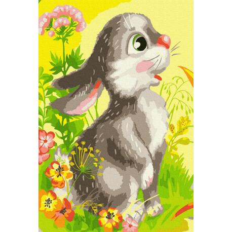 Зайчонок Раскраска картина по номерам на холсте KH1043