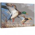 Утки над прудом осенью 100х150 см Раскраска картина по номерам на холсте AAAA-RS042-100x150