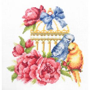 Волнистые попугайчики Набор для вышивания Многоцветница МКН 19-14