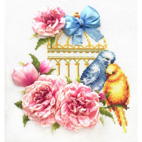 Волнистые попугайчики Набор для вышивания счетным крестом и лентами Многоцветница МЛН-03