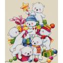 Рождественские мишки Набор для вышивания Merejka K-55