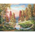 Осенний закат Алмазная вышивка мозаика МС-064