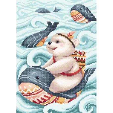 """МС-052 """"Мишка и кит"""" Набор для выкладывания стразами МС-052"""