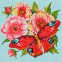Пионы и бабочка Алмазная вышивка мозаика на подрамнике Белоснежка 584-ST-S
