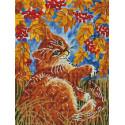 Кот с рябиной Алмазная вышивка мозаика на подрамнике Белоснежка 604-ST-S