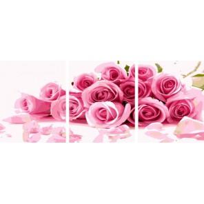 Нежные розы Триптих Раскраска по номерам акриловыми красками на холсте Color Kit