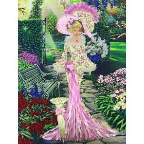 Дама в саду Набор для вышивания лентами Многоцветница МЛ(Н)-3004