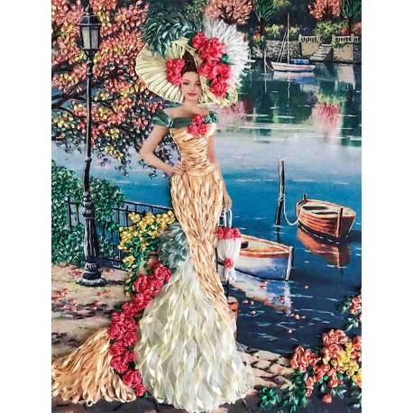 Дама с сумочкой Набор для вышивания лентами Многоцветница МЛ(Н)-3007