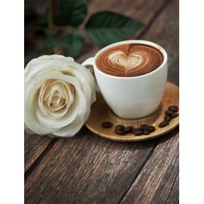 Кофе и роза Алмазная вышивка (мозаика) Гранни