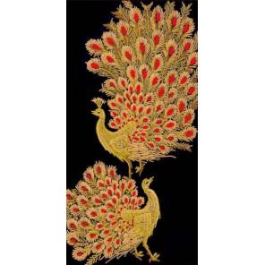 Золотые павлины Ткань с нанесенным рисунком Конек 8520