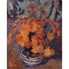 Ваза с хризантемами ( художник Арман Гийомен) Раскраска (картина) по номерам акриловыми красками на холсте Menglei