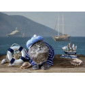 Котик-морячок Раскраска картина по номерам на холсте PK11602