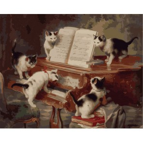 Концерт котят ( художник Карл Райхерт ) Раскраска (картина) по номерам акриловыми красками на холсте Menglei