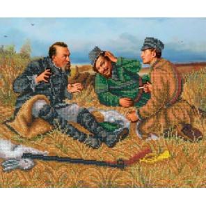 Охотники на привале Набор для вышивания бисером Русская искусница 1029