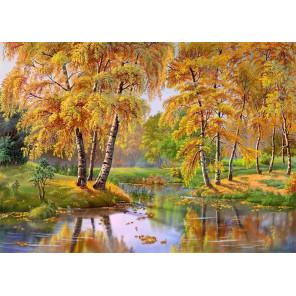 Осень Канва с рисунком для вышивки лентами Каролинка КЛ-3051
