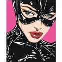 Женщина кошка комикс 80х100 Раскраска картина по номерам на холсте