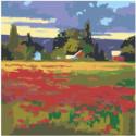 Пейзаж поле с цветами 80х80 Раскраска картина по номерам на холсте