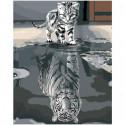 Котенок в отражении тигр 100х125 Раскраска картина по номерам на холсте