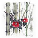 Камелии в бамбуковой роще Набор для вышивания Овен