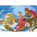 Зимнее катание Канва с рисунком для вышивки бисером Каролинка КК 605