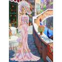 Дама в розовом Набор для вышивки бисером Каролинка КБЛН(Ч) 3014 1
