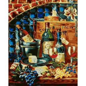 Натюрморт вино и сыр Раскраска картина по номерам CG2024