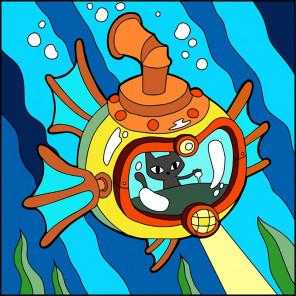 Кот-подводник Раскраска картина по номерам UE036