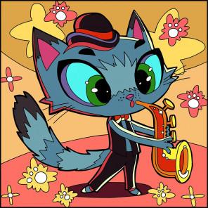 Кот-трубач Раскраска картина по номерам UE048