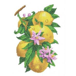 Ветка с лимонами Габардин с рисунком для вышивки бисером Каролинка ТКБЦ 3058