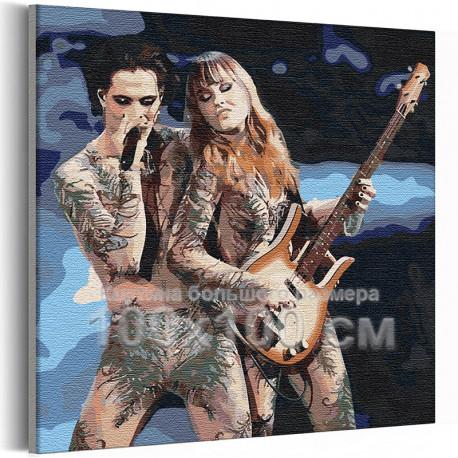 Maneskin / Дамиано и Виктория 100х100 см Раскраска картина по номерам на холсте AAAA-RS308-100x100