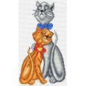 Кот с кошкой Канва с рисунком для вышивки крестом Матренин посад 1621