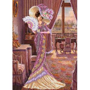 Дама с кофе Канва с рисунком для вышивки бисером Каролинка ТКБЛ 3013 1