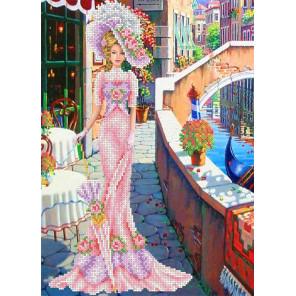Дама в розовом Канва с рисунком для вышивки бисером Каролинка ТКБЛ 3014 1