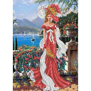 Дама с шарфом Канва с рисунком для вышивки бисером Каролинка ТКБЛ 3015 1