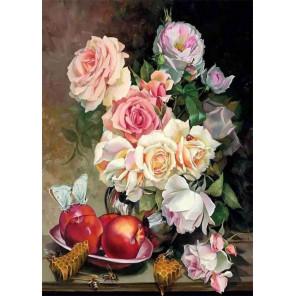 Розы с медом Ткань для вышивки лентами Каролинка КЛ-3047