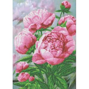 Розовые пионы Набор для вышивания бисером Каролинка КБЦН(Ч) 3048