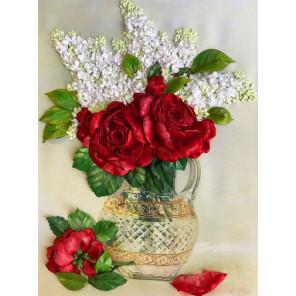 Сирень и красные розы Набор для вышивания лентами Каролинка КЛ(Н)-3040
