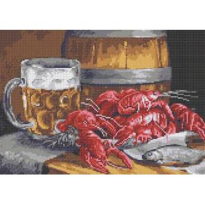 Пиво с раками Канва с рисунком для вышивки крестом Каролинка ТКБП 3058